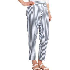 J. CREW White Blue Striped 100% Cotton Ankle Pants